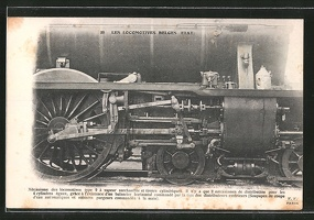 AK-Les-Locomotives-Belges-Etat-Mechanisme-des-locomotives-type-9-Detailansicht-einer-Dampflok