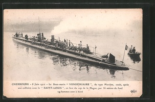 AK-Cherbourg-Le-Sous-Marin-Vendemaire-Franzoesisches-U-Boot-im-Hafen